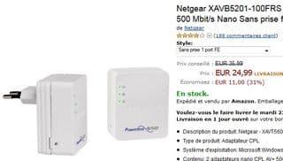 PROMO adaptateurs CPL 500 Mbit/s Nano Netgear XAVB5201-100FRS sans prise femelle