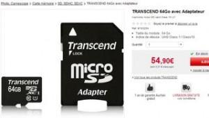 carte mémoire Micro SDXC 64Go Classe 10 Transcend