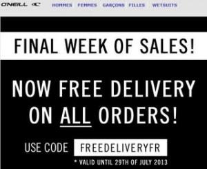 Soldes O'Neill : livraison gratuite (code promo)