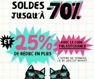 Des milliers d'articles soldés jusqu'à -70% + 25% de réduc chez Outfitters