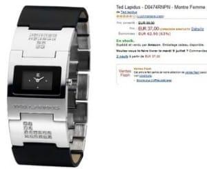 37 euros montre femme Ted Lapidus (au lieu de 97€) + soldes montres