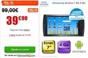 vente flash Archos Arnova 7 G2 4 Go 39 euros