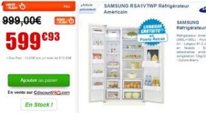 Moins de 600 euros frigo américain SAMSUNG 540L (livraison gratuite relais)