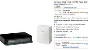 Offre 2 adaptateurs CPL Netgear 200 Mbit/s pour 19,99 euros