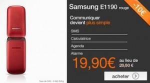 Vente flash mobile Samsung E1190 à moins de 20 euros