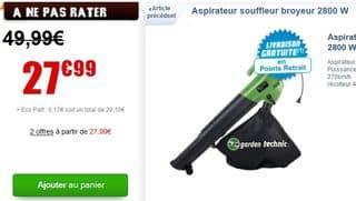 PROMO : Aspirateur souffleur broyeur 2800 W pour seulement 27,99 euros au lieu de 49,90 euros