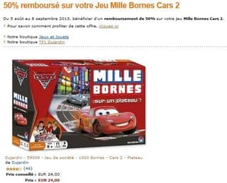 mille bornes cars 2 plateau seulement 12 euros apr s remboursement au lieu de 24 euros. Black Bedroom Furniture Sets. Home Design Ideas