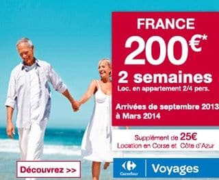 200 euros le s jour 2 semaines en france carrefour voyages. Black Bedroom Furniture Sets. Home Design Ideas
