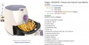 Promo Friteuse sans huile Philips Air Fryer à 92 euros