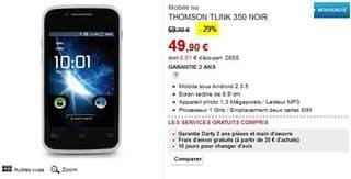 Smartphone Android double Sim Thomson 49 euros