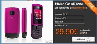 Vente flash t l phone nokia c2 05 rose a moins de 30 euros port inclus sans - Vente flash telephone ...