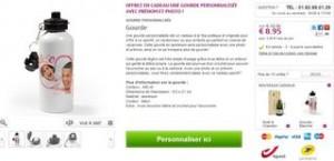 gourde en aluminium personnalisée avec une photo et du texte de votre choix pour moins de 9 euros