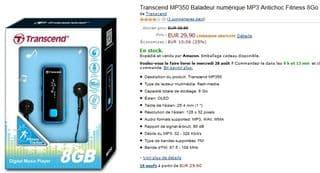 vente flash Baladeur MP3 Fitness Transcend 8Go