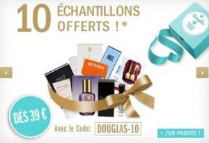 10 échantillons offerts des 39 euros chez parfumerie Douglas (internet)