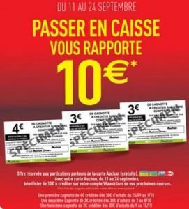0 euros de crédits sur votre carte Auchan
