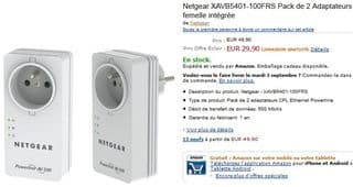 30 euros les 2 Adaptateurs CPL Netgear 500 Mbit/s Nano avec Prise femelle Netgear