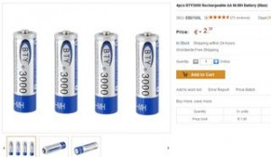 4 piles rechargeables AA 3000 mAh