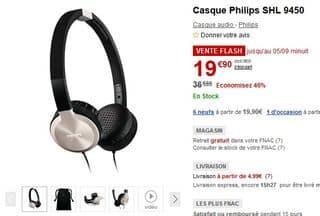 vente flash casque pliable Philips SHL 9450 à seulement 19,90 euros