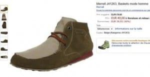 Chaussures montantes cuirs Merrell à 40 euros au lieu du double