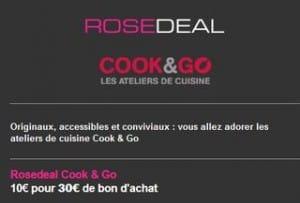 Pour ceux qui veulent s'offrir (ou offrir) un cours de cuisine, depuis ce matin vente privée intéressante qui vous permet d'acheter un bon d'achat d'une valeur de 30 euros pour seulement 10 euros valable dans les ateliers Cook & Go. Comme toujours pour acheter le bon d'achat COOK & GO vous devez être membre ou vous inscrire (gratuit) à vente-privee.com. Le bon d'achat est valable jusqu'au 31 janvier 2014 inclus dans les ateliers COOK & GO de Paris, Lyon, Lille, Marseille, Bordeaux, Nantes, Grenoble, Rennes, Orleans, Villeneuve d'Ascq … et New-York Pour acheter ce bon vous devez vous inscrire gratuitement sur vente-privee.com. Plus de détails sur les ateliers de cuisine Cook&Go sur leur site http://www.cook-and-go.com/fr \COOK & GO