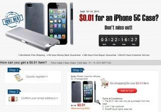Coque en plastique pour iPhone 5C a 1 centime