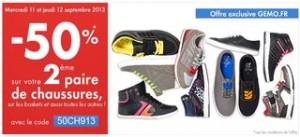 Gémo : 1 paire chaussure acheté = la seconde à moitié prix