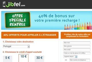 Appels pas chers à l'étranger ! Offres spéciales 40% en plus sur la recharge Jibtel