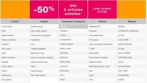 Moins 50% dès 2 articles achetés / Castaluna