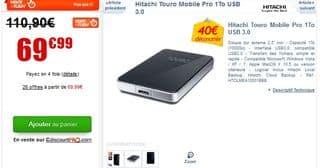 Moins de 70 euros Hitachi Touro Mobile Pro 1To USB 3.0
