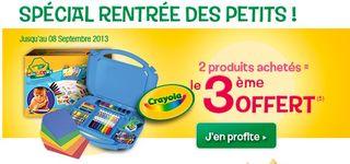 Offre Crayola 2 produits achetes lle 3eme gratuit