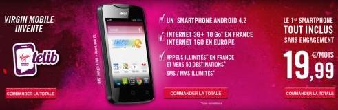 Offre Telib Virgin Mobile avec Smartphone