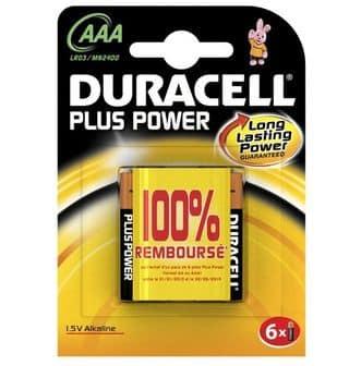Piles Alcalines Duracell 100% remboursées (Piles Plus Power X6 AA ou AAA)