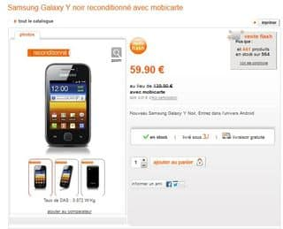 moins de 60 euros le smartphone galaxy y samsung reconditionn s orange. Black Bedroom Furniture Sets. Home Design Ideas