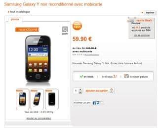 Moins de 60 euros le smartphone Galaxy Y Samsung reconditionnés Orange