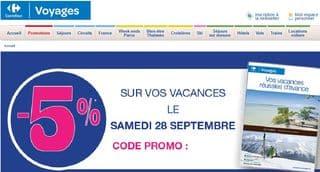 Aujourd'hui seulement 5% sur les séjours Carrefour Voyages