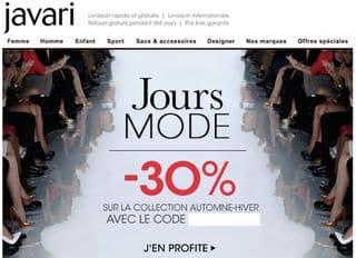 code promo javari 30 pourcent jours mode