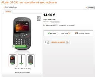 moins de 15 euros mobile alcatel ot 358 reconditionn orange mobicarte 5 euros livraison. Black Bedroom Furniture Sets. Home Design Ideas