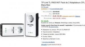 Vente flash CPL moins de 40 euros 2 Adaptateurs CPL TP-Link 500 Mbps /avec prise secteur
