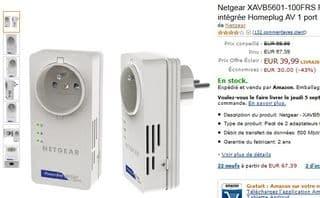 Pack 2 Adaptateurs CPL 500 Mbit/s Netgear avec prise femelle 39,90 euros