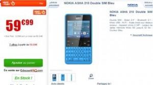 vente flash NOKIA Asha 210 Dual Sim bleu
