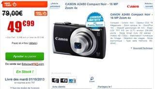 vente flash l'appareil photo Canon A2450 a moins de 50 euros