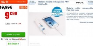 vente flash batterie mobile rechargeable PNY 2600 mAh