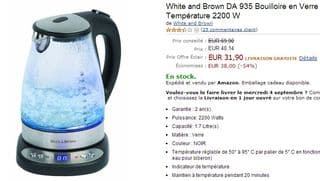 vente flash bouilloire en verre White and Brown 31,90 euros