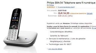 Dernier jour 55 euros le t l phone fixe sans fil avec base bluetooth philips - Vente flash telephone ...