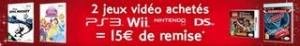 15 euros offerts pour 2 jeux video DS achetes