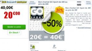 20 euros le bon d'achat de 40 euros GO Sport