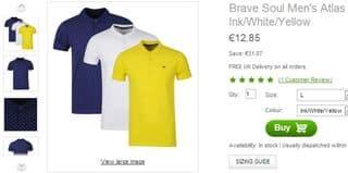 Moins de 13 euros les 3 polos Brave Soul (port inclus) – taille L uniquement