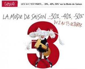 3J Galeries Lafayette jusqu'à moins 50% sur des milliers d'articles