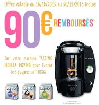 9 euros la Cafetiere a dosette Tassimo Bosch offre de remboursement