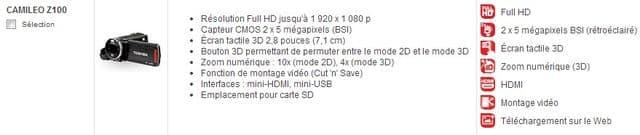 Caractéristiques du caméscope Camileo Z100 3D Toshiba